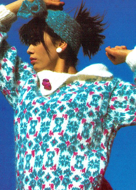 PDF Vintage 1980s Womens Ladies Knitting Pattern SNOWFLAKE