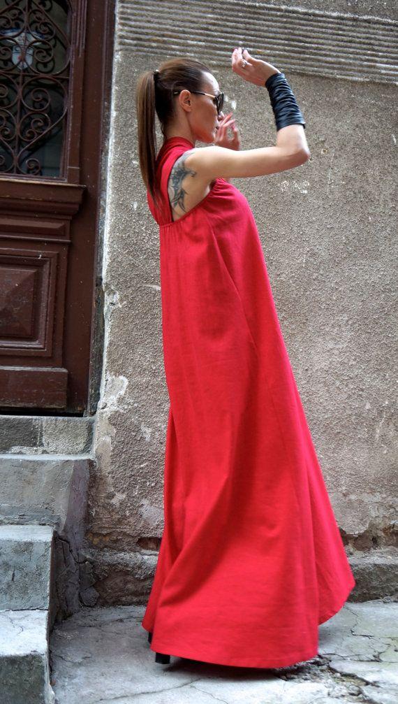 NEW Sexy Maxi Dress / 2016 Hot Red Kaftan Linen Dress / by Aakasha