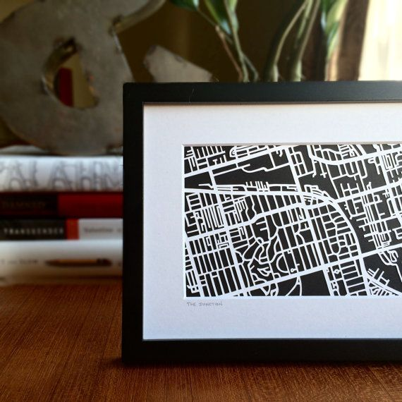 Hand cut paper map of The Junction in Toronto, ON  | 4x6 by CUTdesignsrt