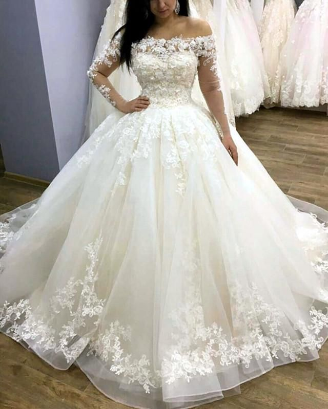 Tulle Ball Gown Wedding Dresses Lace Long Sleeves Off Shoulder