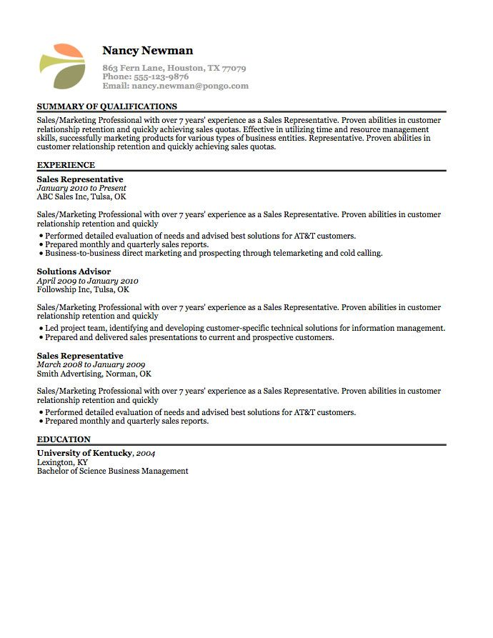 13 best resumes images on Pinterest Resume templates, Sample - Sales Representative Resume