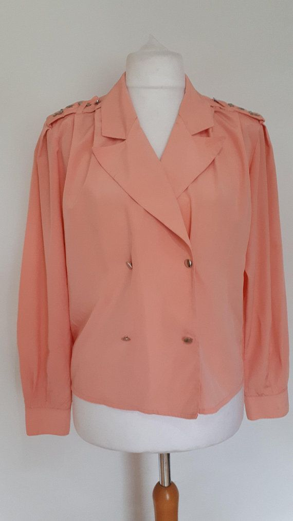 Vintage 80s Blouse By Cache D Or Peachy Pale Pink 80s Double