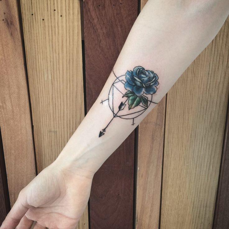 Geometric designs and rose tattoo By Emir Geylani
