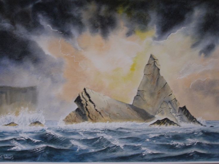 Church Rock Water Colour By C Walters