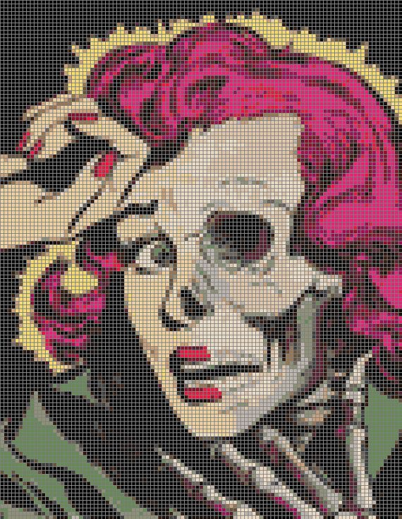 Hey, I found this really awesome Etsy listing at https://www.etsy.com/listing/201540687/pop-art-zombie-woman-cross-stitch-kit