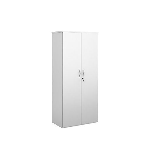 Bimi White High Office Cupboard Lockable Double Doors And 4 Shelves Tall Cupboards