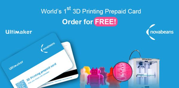 L'entreprise Novabeans spécialiste de l'impression 3D propose une carte prépayée en partenariat avec Ultimaker. Vous bénéficiez d'un crédit pour l'impression de 2 objets 3D gratuits de 50x50x80mm. Vous recharger votre carte et imprimer des objets de différentes tailles, matériaux, couleurs… ||| http://3dprintingindustry.com/2015/05/25/novabeans-ultimaker-launch-worlds-1st-3d-printing-prepaid-card-in-india ||| https://www.facebook.com/novabeans3d/timeline?ref=page_internal