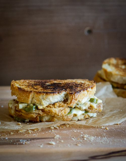 """""""Hot Mess"""" grilled cheese with pepper jack, onion rings & jalapenos. Inspired from Jack in The Box"""