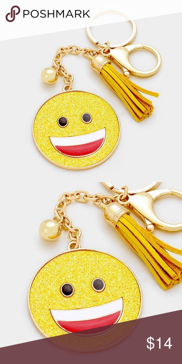 "Emoji Keychain [grandavenue: 320290] • Color : Gold, Yellow • Theme : Tassel  • Size : 2"" X 2"", 6"" L • Glitter emoji keychain with tassel Accessories Key & Card Holders"