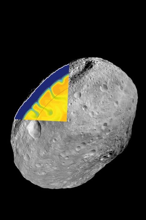 Entstand die Erde in planetarer Billardpartie?   Im Inneren von Asteroiden finden gigantische Umwälzungsprozesse statt, ähnlich denen, wie in der Anfangsphase der Erde. Abb.: Der Asteroid Vesta in einer Aufnahme der NASA-Sonde Dawn. Zur Verdeutlichung erlaubt diese Darstellung den Blick in das Innere etwa 50 Millionen Jahre nach dessen Entstehung. (Bild: NASA-JPL / Caltech / DLR / Goethe-U. / ETH)…