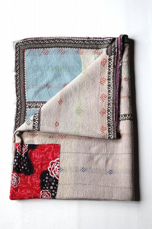 Indian vintage patchwork rug mat/sashiko/needlework/homemade/1950's/india/cotton/045
