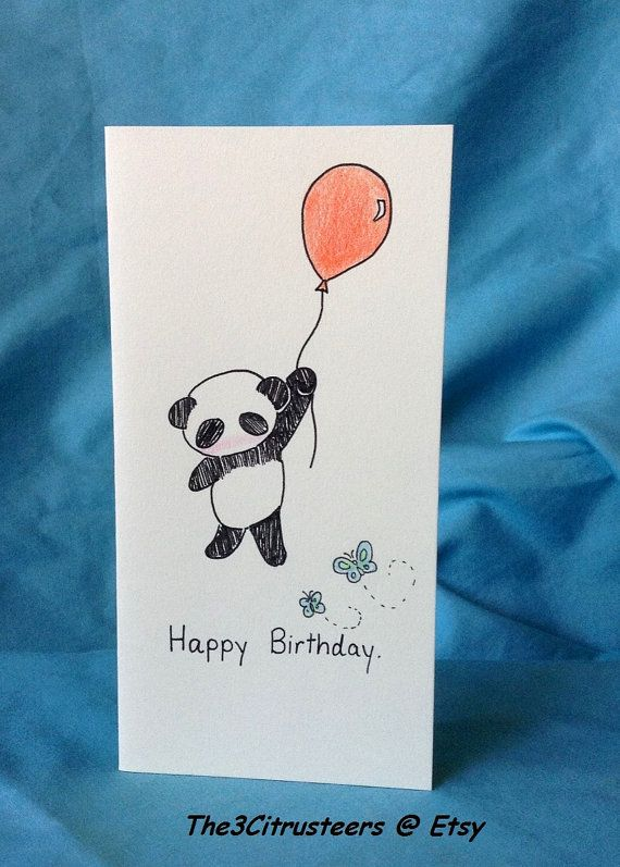 Hand drawn/ Handmade Adorable Panda Happy by The3Citrusteers, $3.50