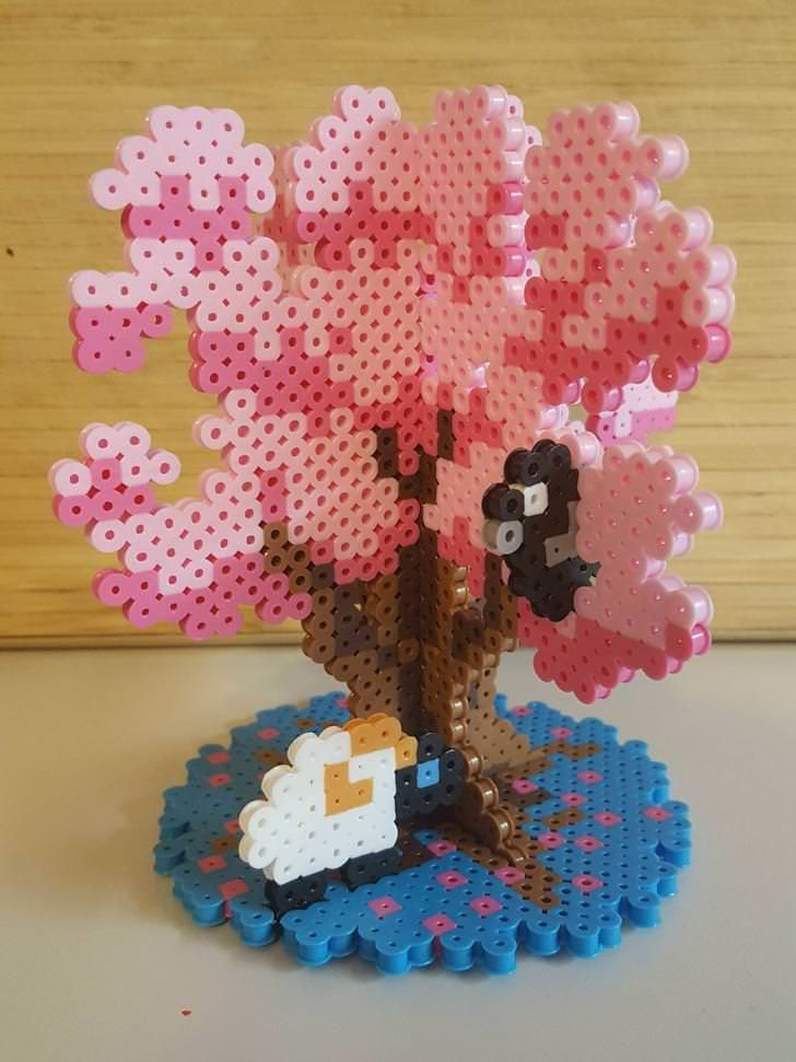 I Finished My 3d Perler Project Its The Cherry Blossom Tree From The Adventure Zone I Also Added Hurley And Sloan S Animal S To The Tree 3d Perler Bead Diy Perler Beads