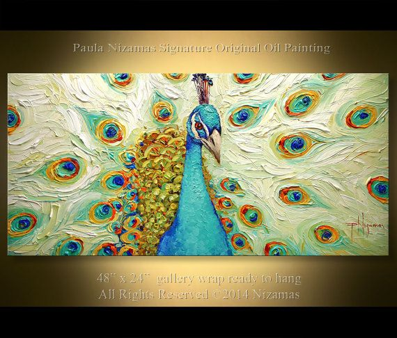 Peacock  Size 48 x 24 x 3/4 Canvas on frame    Artist: Paula Nizamas  About artist:    http://www.nizamas.com/about.php