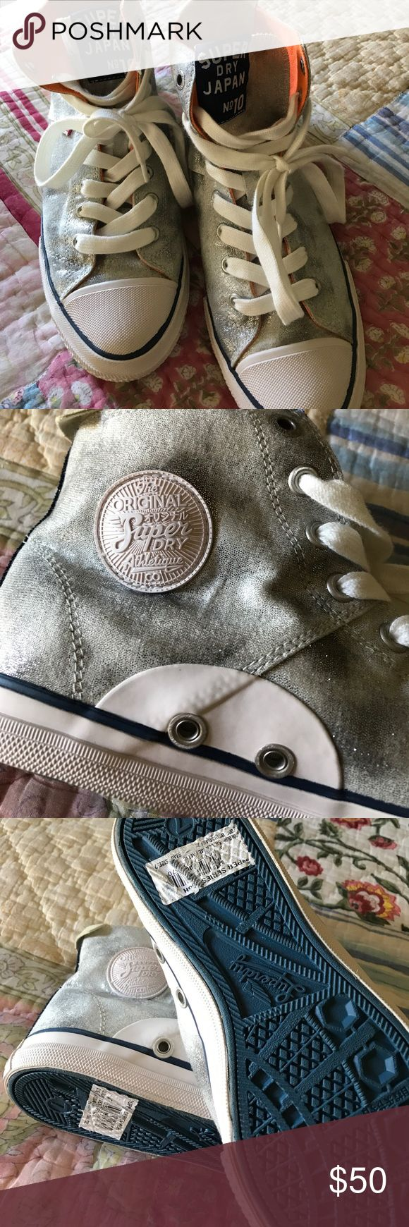 Super dry high top sneakers Brand new never worn from super dry in London   Shiny silver metallic and cool 😎 no box Superdry Shoes Sneakers