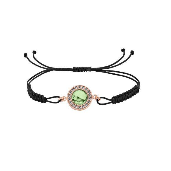 Knytted armbånd med caribisk grønt rav og hvide topas.