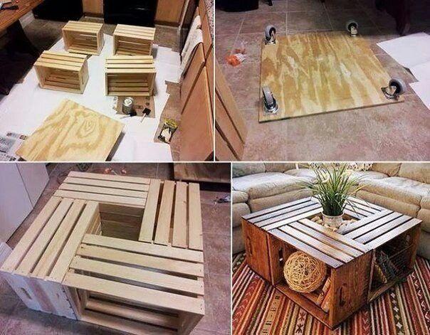 Стол из деревянных ящиков