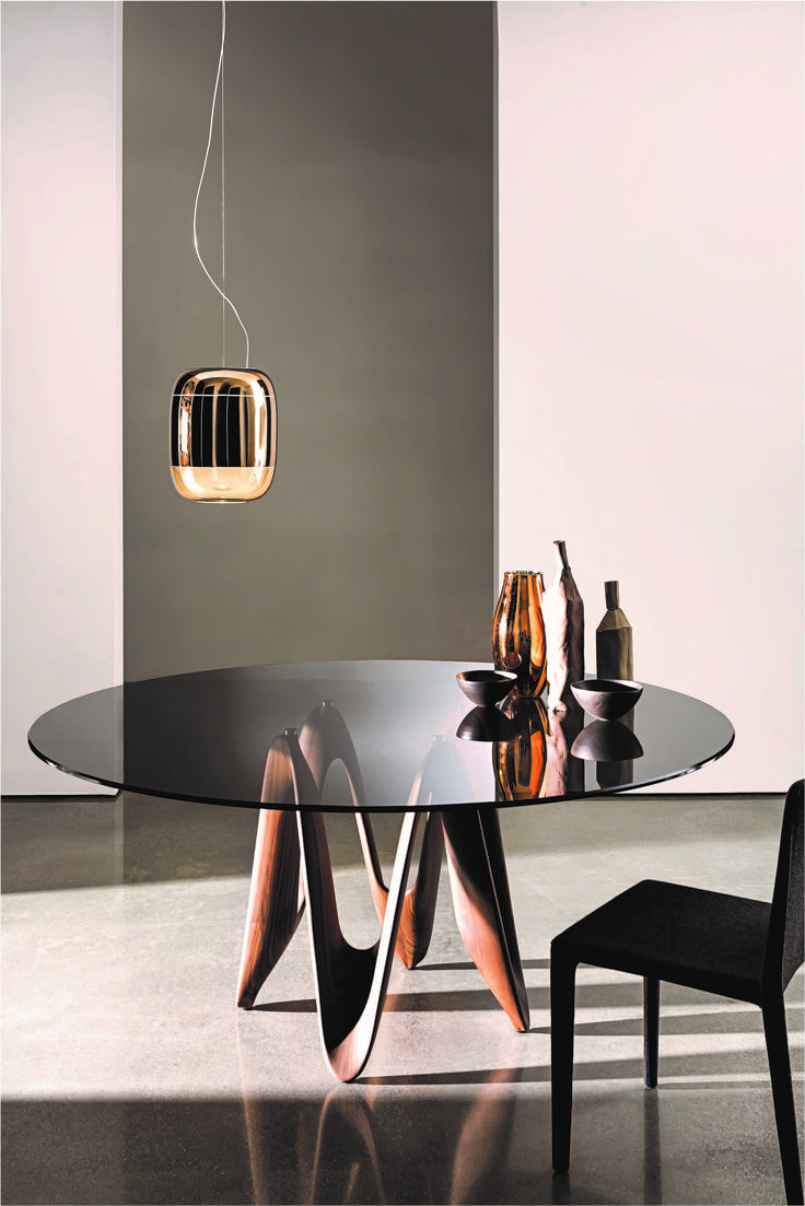 Gong Blown Glass Suspension Fixture In The New Sovet Italia Photoshoot AD Gianluigi Landoni Dining TableDining