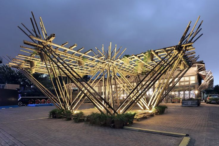 penda develops 'rising canes' pavilion made entirely out of bamboo and ropes