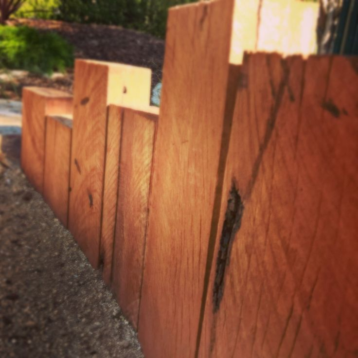 Hardewood timber wall detail by Keystone Landscapes Wagga