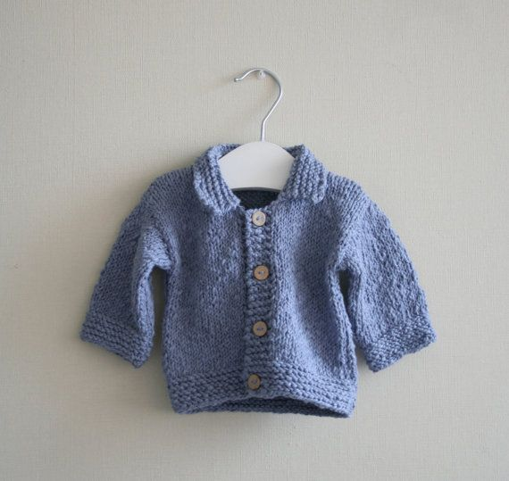 Baby boy hand knitted sweater in blue cotton yarn. 100% cotton.    Size: 3 months - no pattern - just idea