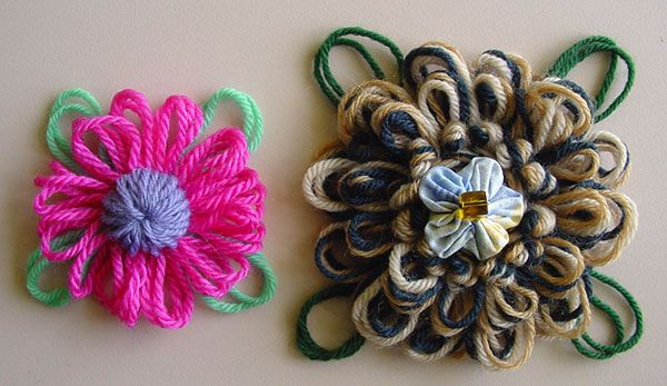 Written directions on post---Loomed flowers with large loopy leaves
