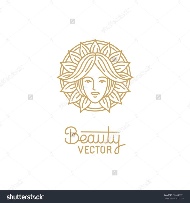 Vector logo design template in trendy linear style with female face - abstract beauty symbol for hair salon or organic cosmetics