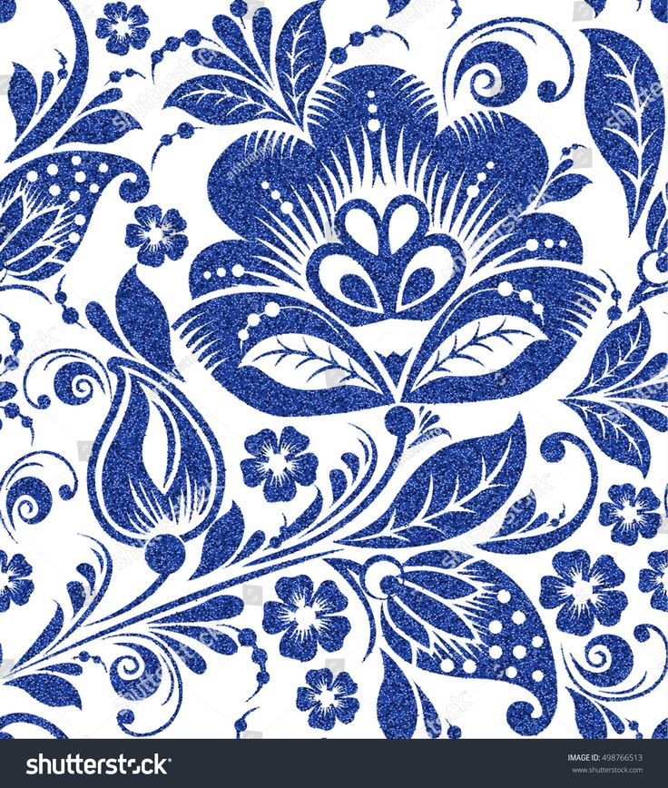 Vector blue glittering floral seamless pattern on white background abstract, art, background, berry, black, blue, branch, creativity, culture, curl, curve, decor, decoration, decorative, design, drawing, ethnic, floral, flower, folk, history, hohloma, illustration, khokhloma, leaf, luxury, national, nature, ornament, ornamental, ornate, painting, pattern, plant, repeat, repeatable, retro, russia, russian, seamless, style, summer, swirl, tradition, traditional, vector, vintage, wallpaper…