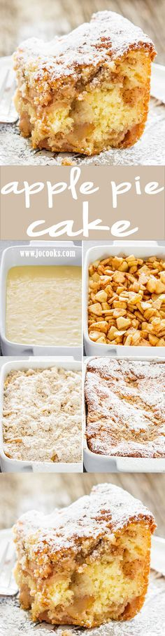 Apple Pie Cake - Is it pie or is it cake? It's both! For those times when you can't decide if you want pie or cake, this apple pie cake will satisfy both cravings! apple desserts