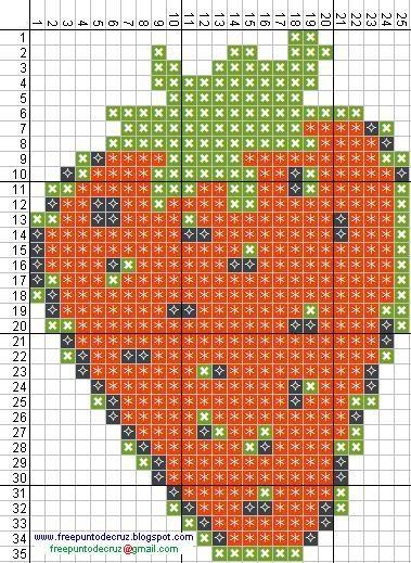 Strawberry hama perler beads pattern - Dibujos Punto de Cruz