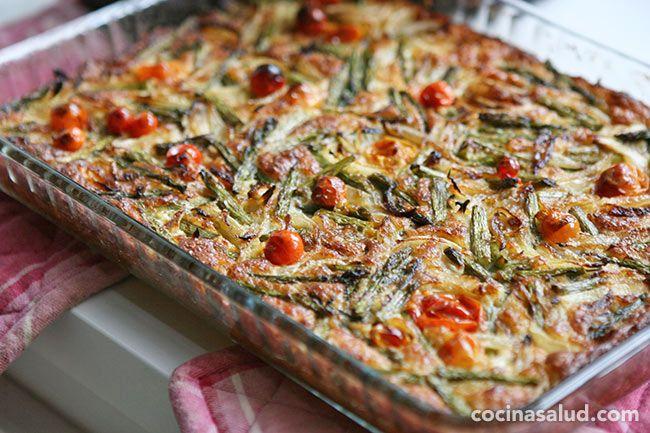 Pudin-suflé de espárragos y queso, riquísimo y fácil de hacer. www.cocinasalud.com