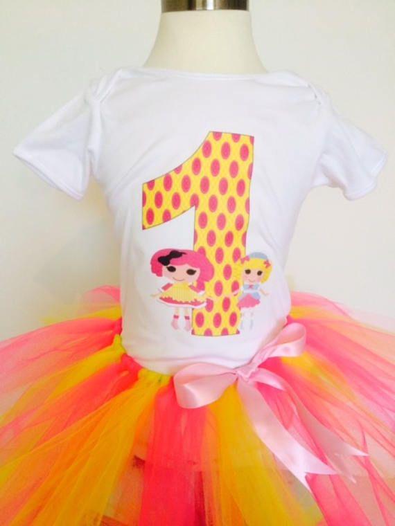 Lalaloopsy Birthday Outfit,Lalaloopsy Shirt,Lalaloopsy Tutu, Yellow and Pink Tutu,Custom Made Any Age,Any Name.