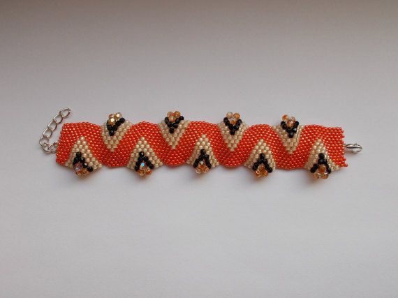 Check out this item in my Etsy shop https://www.etsy.com/listing/494415476/orange-wavy-bracelet