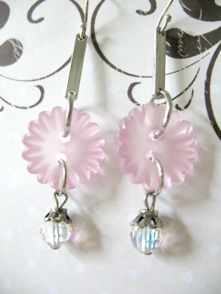 Vintage Crystal Button Earrings