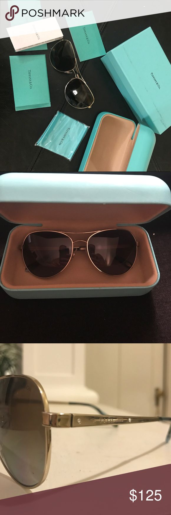 Tiffany Aviator Sunglasses Brand new never worn Tiffany aviators in original packaging with case, glass cleaner, certificate of authenticity, and original box. No longer sold in stores. Tiffany & Co. Accessories Sunglasses