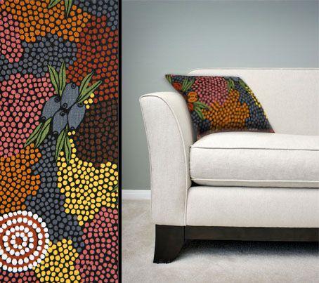 Design:  Bush Flower Dreaming Size: 50cm square - 100% cotton - zip Australia Made Code: CUSH-BUL08 Price: $30.00