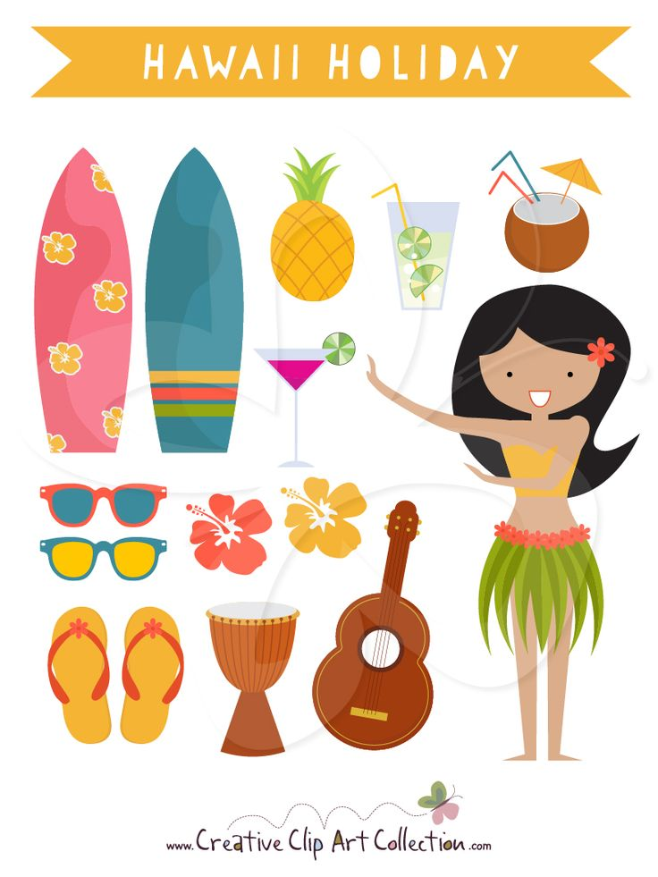A Cute Hawaii Holiday Clip Art Clipart Set With A Hula