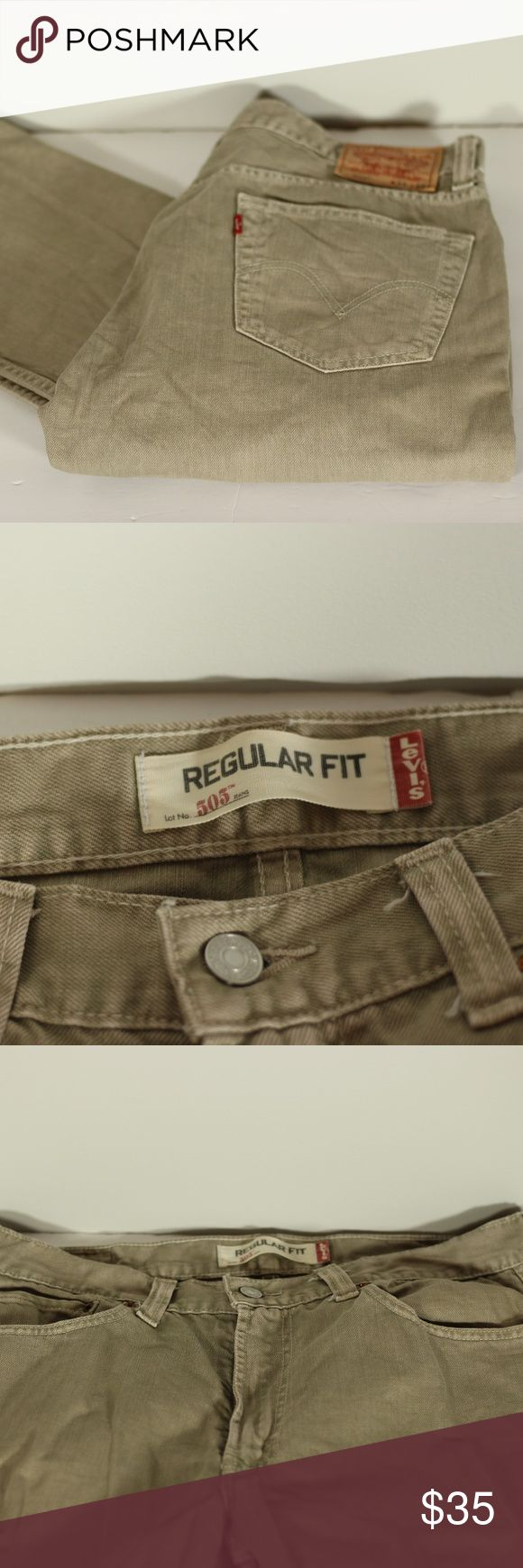 """Levi's Jeans 505 Tan 34x32 Pre-Loved but in excellent used condition. Levi's 505 jeans for men. Size 34Wx32L. Color Tan. Regular Fit  Approximately 45"""" from waist to hem Inseam is approx 32"""" Boot is approx 8.5"""" wide Levi's Jeans Straight"""