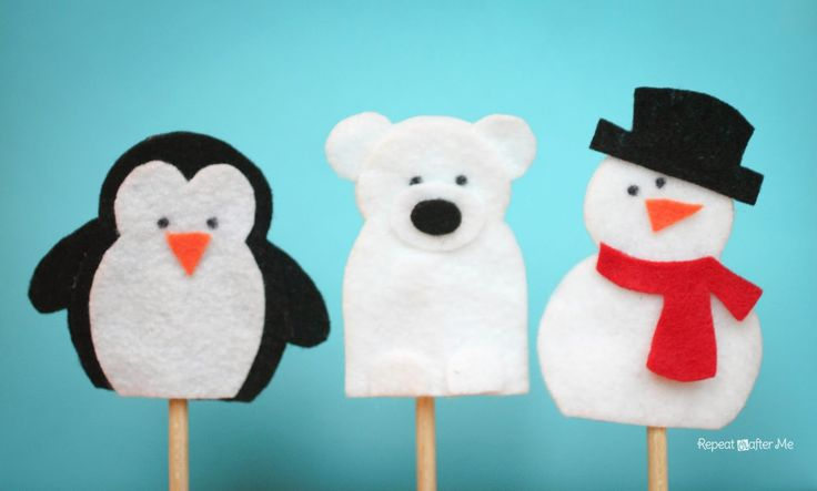 Snow Friends Finger Puppets - Use as flannel board figures