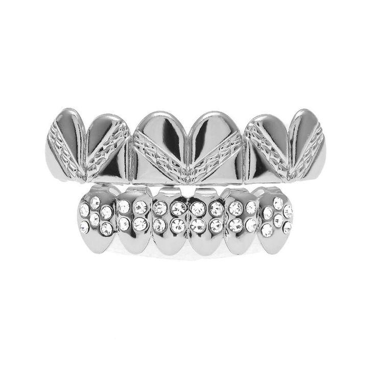 [FULL SET] AZTEC STAMPED DIAMOND SILVER GRILLZ