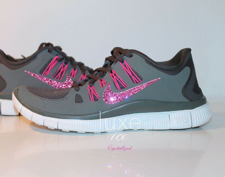 NIKE run free running shoes w/Swarovski Crystals detail - Charred Grey from  Luxe Ice