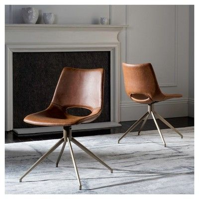 Danube Midcentury Modern Leather Swivel Dining Chair Light Brown/Brass    Safavieh