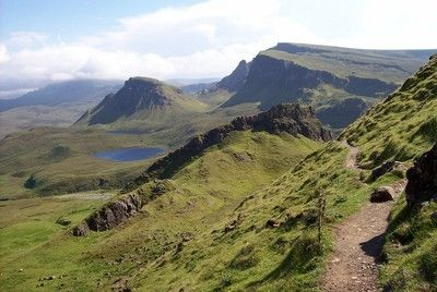The spectacular Quiraing gives a classic hill-walk. This circuit heads out above the escarpment and returns along its base.
