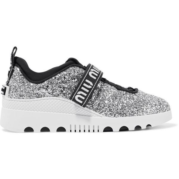 Miu Miu Glittered neoprene sneakers (2.390 RON) ❤ liked on Polyvore featuring shoes, sneakers, silver, glitter trainers, lace up sneakers, velcro shoes, strappy shoes and rubber sole shoes