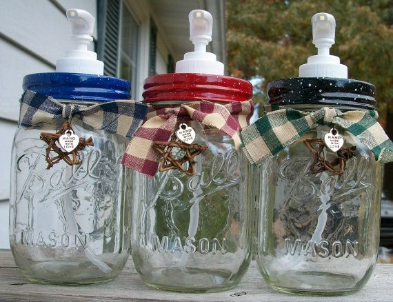 Mason Jar Liquid Soap Or Lotion Dispenser. Country Kitchen, Red, Blue, Black
