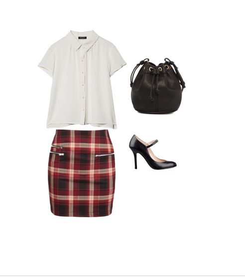 Sophisticated Schoolgirl: How To Rock The Plaid Mini -- School House Haute -- Bernadette Red Plaid Mini Skirt , MANGO Pebbled Bucket Bag , Otto New York Solid Gigi Top , Nine West May Jane Pumps
