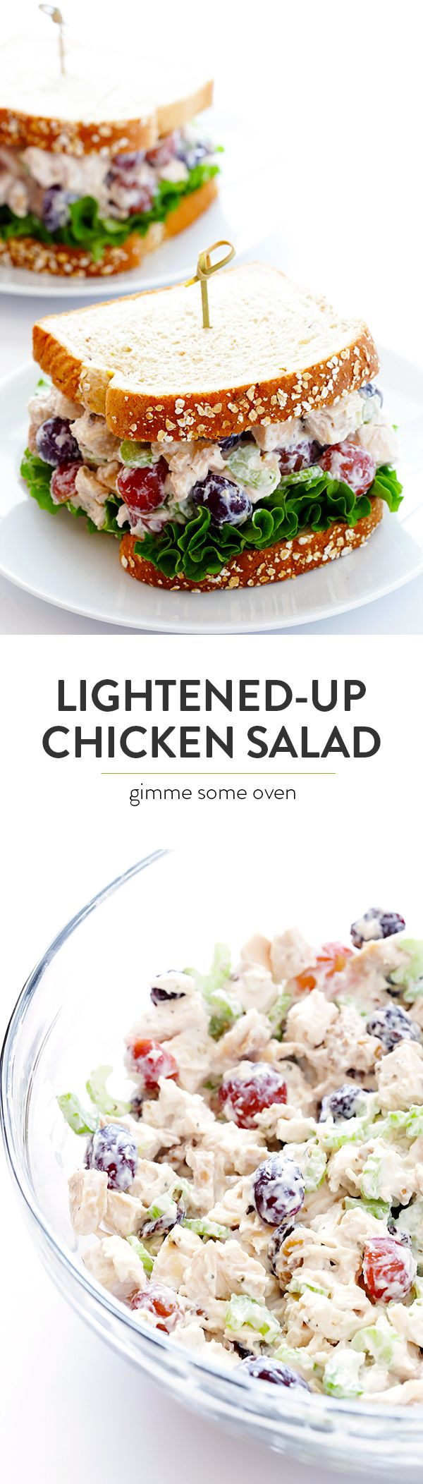 Lightened-Up Chicken Salad -- made with all of my favorite classic ingredient, yet lightened up with Greek yogurt | gimmesomeoven.com