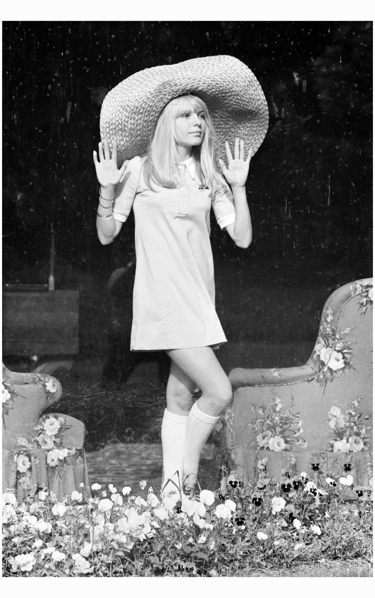 France Gall Posing in a schoolgirl-style outfit at home in Pourrain in 1967 Jacques Haillot:Corbis