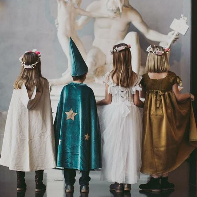 from left to right: numero74 Leia cape, Merlino cape and hat, Scarlett dress Limited Edition, Scarlett dress | Photo credits Emmanuelle Brisson