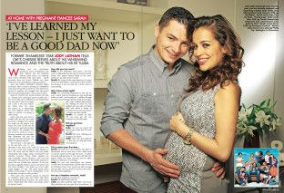 Jody Latham at home with pregnant fiance Sarah Byrne